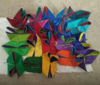 Windmills folded, but not pressed, pinned in order