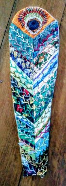 Patchwork of silk ties and feather stitch. Well I had to use feather stitch on one of them, didn't I?